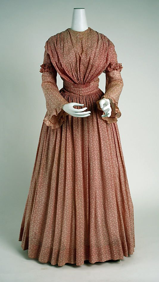 Dress, materials not listed (possibly cotton), 1840-50, American.