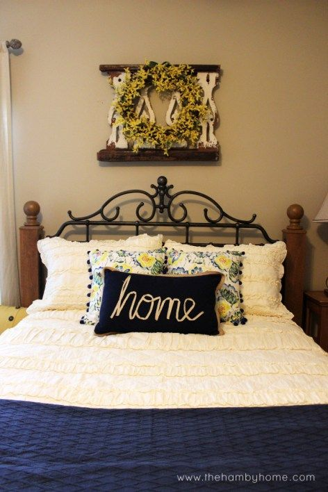 Navy and Yellow Guest Room Tour