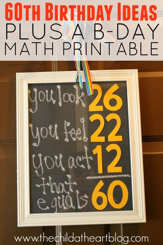 60th Birthday Ideas for a Guy:  Free Birthday Math Printable and More DIY Birthday Party Ideas: