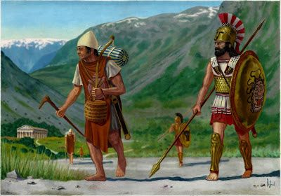 """Hoplite warrior and his carrier- """"skenoporos"""", the fifth century BC"""