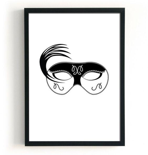 Venetian mask masquerade mask poster print - black venice print, black and white prints, carnival invitation, italian decor, wall art by BlacknBoo on Etsy (null)