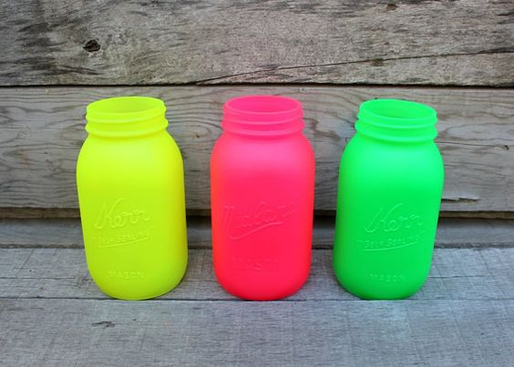 Set of 3 Large Painted Mason Jars in Neon Colors