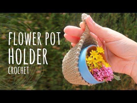 Tutorial Crochet Flower Pot Holder Lanas Y Ovillos In English Youtube Flower Pot Holder Crochet Flowers Flower Pots