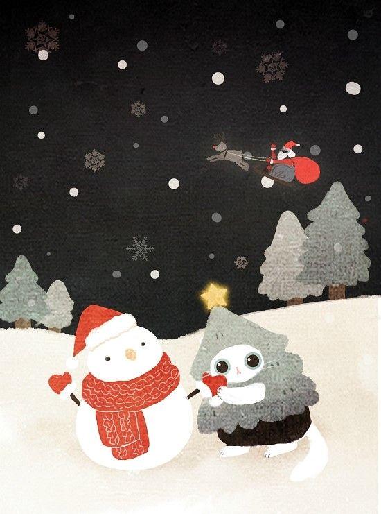 보들캣 크리스마스 일러스트2 고양이 캐릭터 네이버 블로그 고양이 크리스마스 고양이 그림