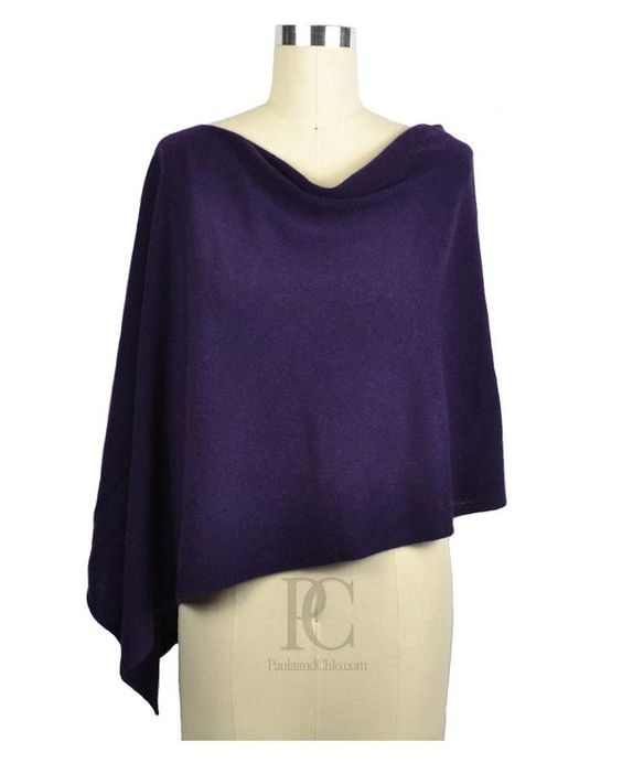 Claudia Nichole Cashmere Dress Topper Poncho Cabernet Purple