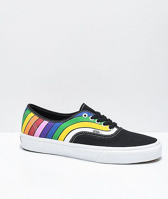 Vans Authentic Refract Black, White & Rainbow Skate Shoes | Zumiez ...
