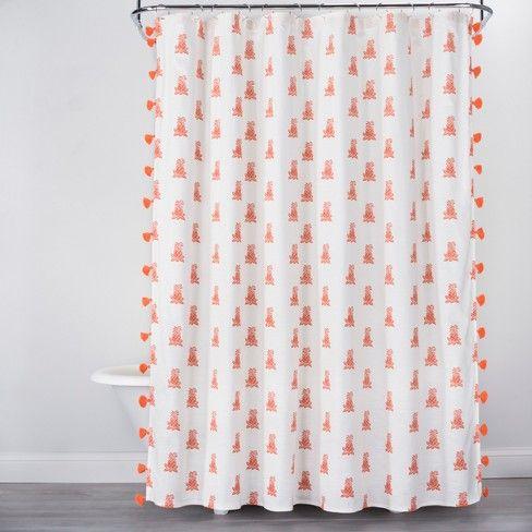 Mini Pineapple Print With Tassels Shower Curtain Orange Opalhouse Target Pineapple Shower Curtain Patterned Shower Curtain White Shower Curtain