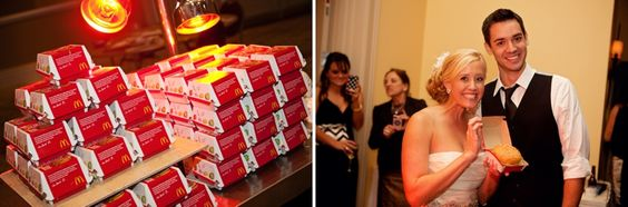 """""""My favorite part of the wedding was surprising my husband with his favorite food, McDonalds Big Mac's! We had 100 Big Mac's brought in as his surprise grooms cake. He was shocked and all of the guest loved snacking on a Big Mac at the end of the night!""""  -Would totally love to do this, with Jr Chickens!"""