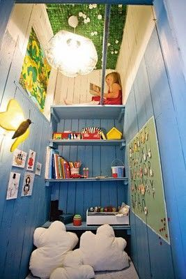 Coolest room. Looks like a closet was made into an awesome space.