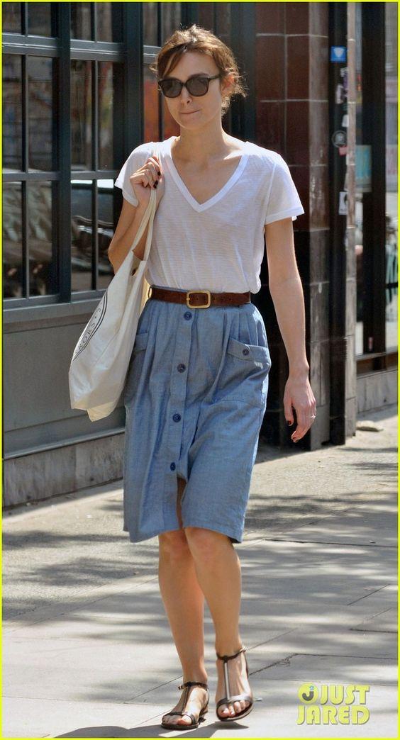 Keira Knightley: love the white shirt + chambray skirt combo