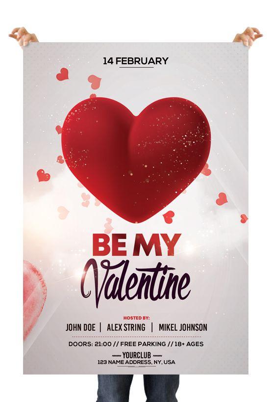 Be My Valentine Psd Flyer Template Valentine Poster Valentine Invitations Valentines Design