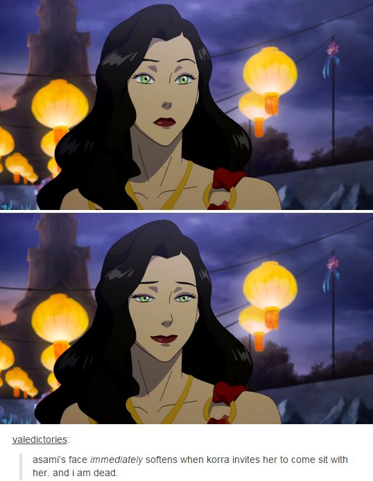 Asami's face immediately softens when Korra invites her to come sit with her.