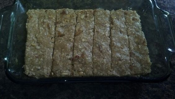 bars- 1 cup oatmeal, 1/2 cup peanut butter, 1/3 cup dried fruit ...