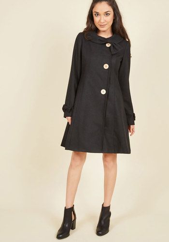 Train Travel Trendsetter Coat in Black | Mod Retro Vintage Coats | ModCloth.com