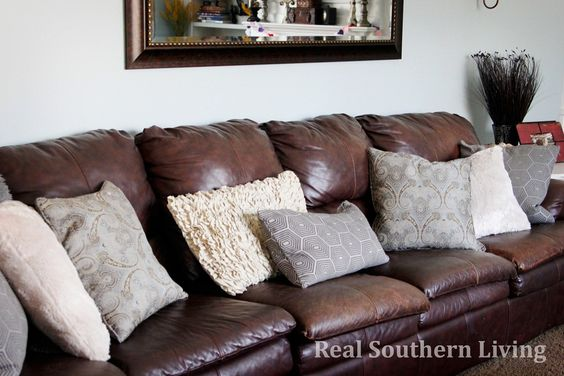 Throw Pillows For A Brown Leather Couch : Pillows for brown leather couch Home ideas Pinterest The old, Leather and Throw pillows