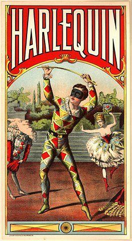 Harlequin vintage poster: