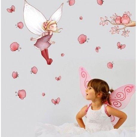Voici une planche de stickers féérique créé par Emmanuelle Colin, qui décorera avec goût la chambre d'une demoiselle.