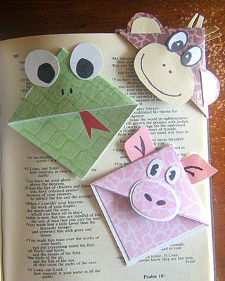 Cute Corner Bookmarks.  (A simpler way to make these is to start with an envelope--think of all the ones that go in the recycling bin. Cut the corner diagonally for a triangle marker, or cut out a square and then cut the front to make these cute designs.  RJ)