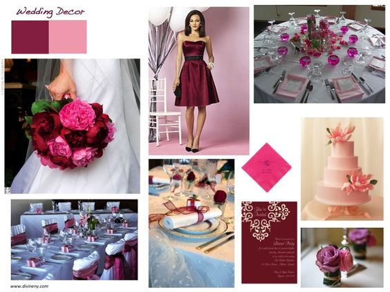 Wedding Décor Pink Is Flirty Playful And Fun While Burgundy Adds A Dramatic Flavor Elegance Decorating Ideas Pinterest