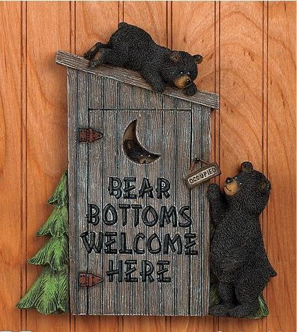 black bear bathroom outhouse wall plaque cabin lodge pine forest home decor new powder
