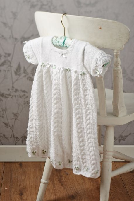 Easy lace christening gown by Cygnet Yarns - free from Lets Knit! Clos...