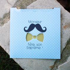 Faire-part baptême / naissance thème moustache et noeud papillon