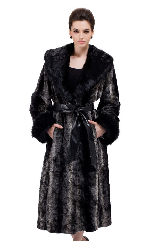 Faux black rabbit fur and black fox fur collar long fur coat