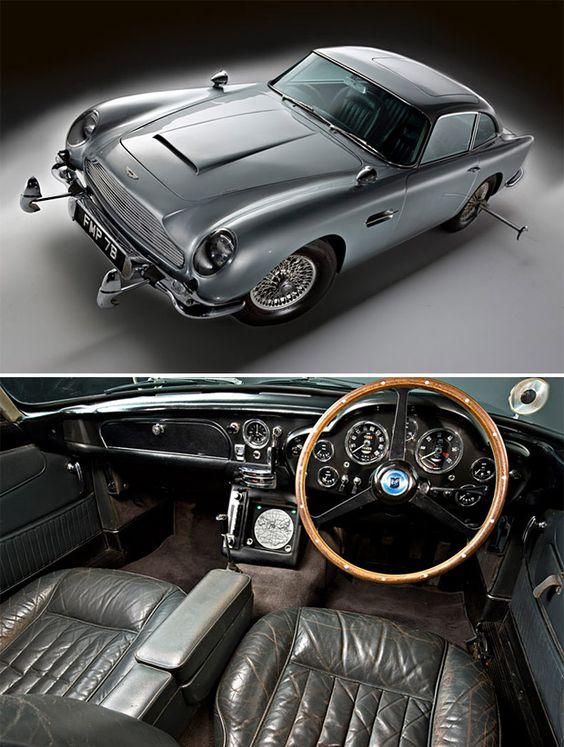 James Bond's Aston Martin DB5  Car type: 1963 Aston Martin DB5  Special features: Oil slick, smoke screen, ejector seat, radar tracking system, machine guns, revolving license plates  Films: Goldfinger, Thunderball, The Cannonball Run, Goldeneye, Tomorrow Never Dies, Casino Royale