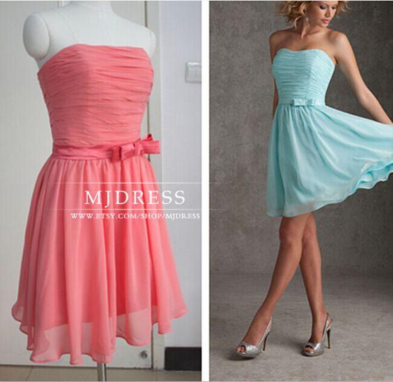 Stock Coral bridesmaid dress Tiffany blue bridesmaid by MJDRESS- $ ...