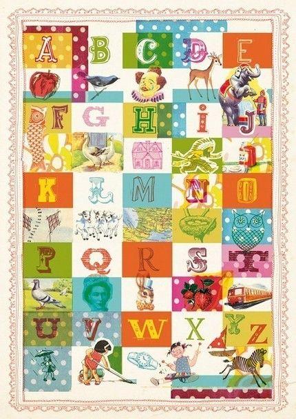 Vintage Alphabet art print 8x11