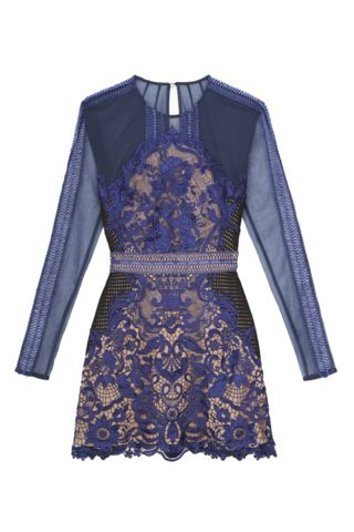 Blue Sheer Lace Trim And Mesh Combination Party Dress - Goodnight Macaroon