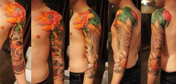 Japanese sleeve, by Tristen Zhang, Chronic Ink in Toronto