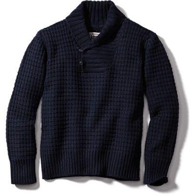"Schott 27"" Wool Pullover Waffle Sweater - Navy"