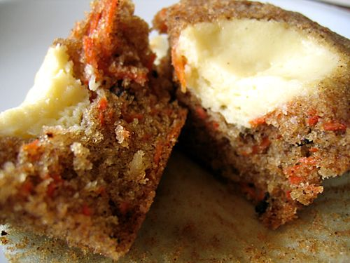 Carrot Cake muffins with Cream Cheese Filling - add a little icing and you have a cupcake! :)