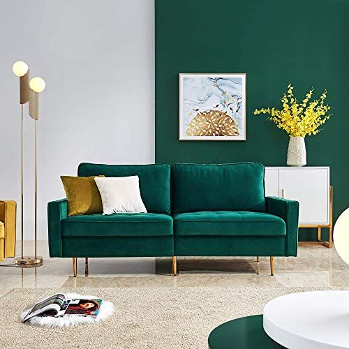 New Eiiox Mid Century Modern Sofa Pillows Metal Legs Velvet Fabric Bench Sectional Couch Easy Assembly Chaise Lounge Any Style Living Room Bedroom Office Etc Green Online Shopping In 2020 Living