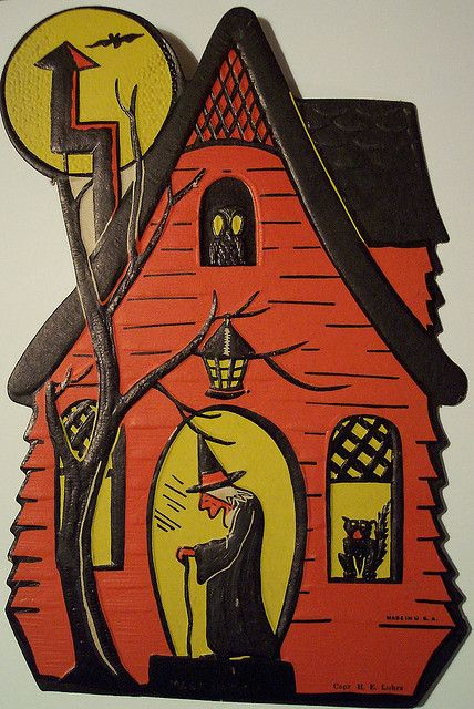 Vintage Halloween Witch and her house by riptheskull, via Flickr