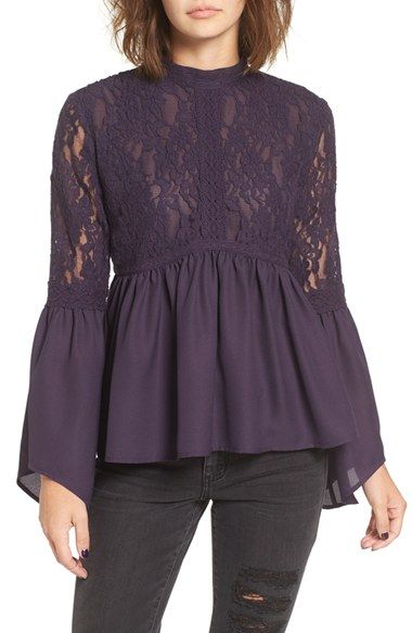 Free shipping and returns on Sun & Shadow Lace Inset Peplum Top at Nordstrom.com. Textured lace releases into flared bell sleeves and a dramatic peplum hem, adding a sense of Victorian charm to this trend-right plum-hued top.