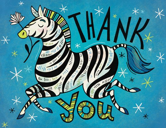 Thank You Zebra: greeting card design