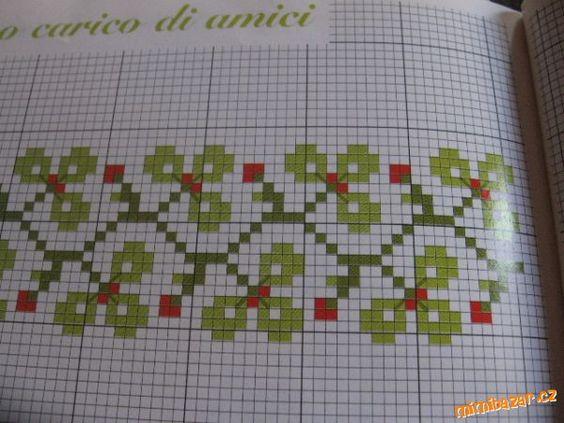 Křížkový steh..vzory na lemovani..vzor trojlistku..kvetu apod..