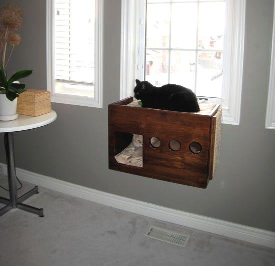 Cat climber perch diy box cat perch for Diy cat furniture