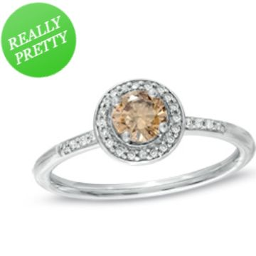 I've tagged a product on Zales: 1/2 CT. T.W. Enhanced Champagne and White Diamond Frame Ring in 10K White Gold