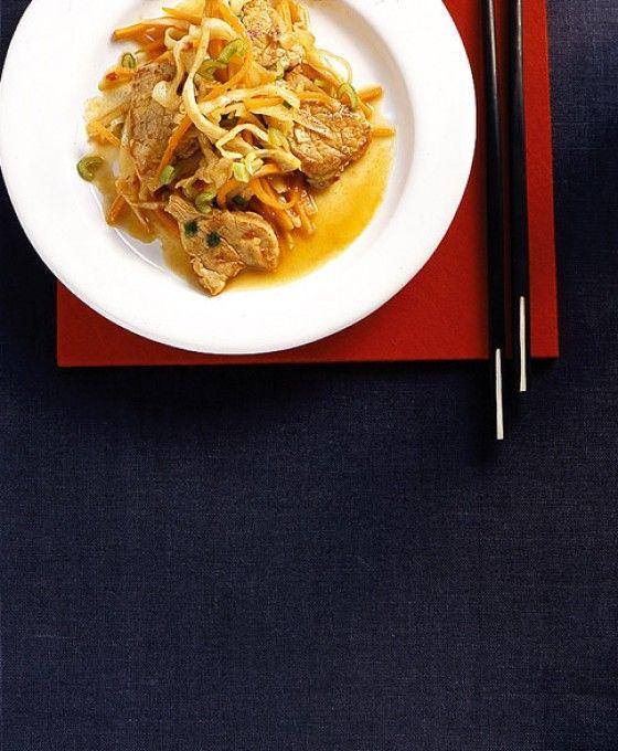 pork schnitzel with spicy cabbage