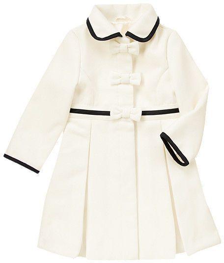 Gymboree Joyful Holiday Bow tipped melton white coat sz L NWT