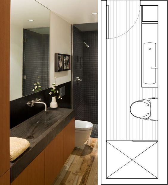 Narrow bathroom layout guest bathroom effective use of for Narrow toilet ideas