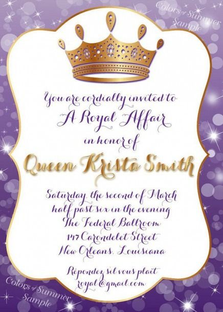 royal queen birthday invitation wording