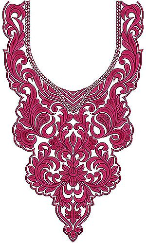 Argentina Fashion Dresses Collection Neck Yoke Embroidery Design: