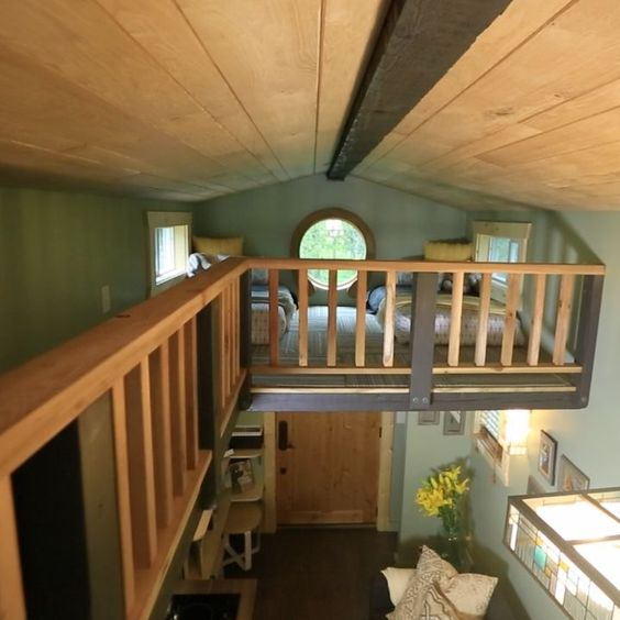 Like the balcony walk thru tiny house plans for family for Sleeping cabin plans