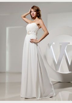 A-line Chiffon Strapless Empire Floor-Length Backless Sleeveless Beading Ruching Sequins White prom dress