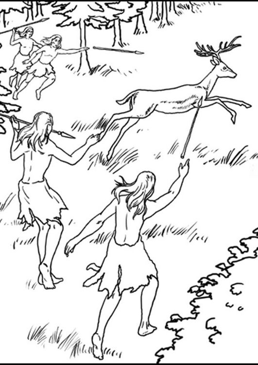 1a Cazadores T7631 Jpg 531 750 Prehistoria Imprimir Sobres Dibujos
