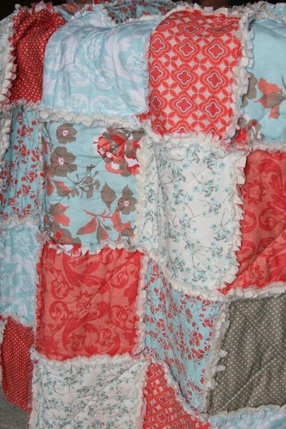 Crib Rag Quilt Baby Girl Crib Bedding Coral Aqua by justluved